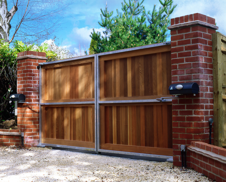 Timber steel automated gates